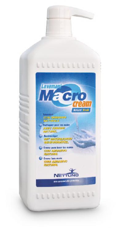 Nettuno Macrocream in plastic bottle with pump dispenser.