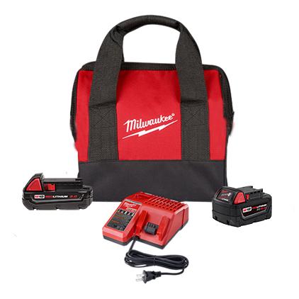 Milwaukee M18 REDLITHIUM 2Ah and 5Ah Battery Starter Kit