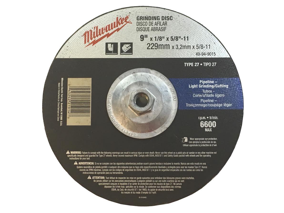"9"" x 1/8"" x 5/8-11"" Grinding Wheel (Type 27)"