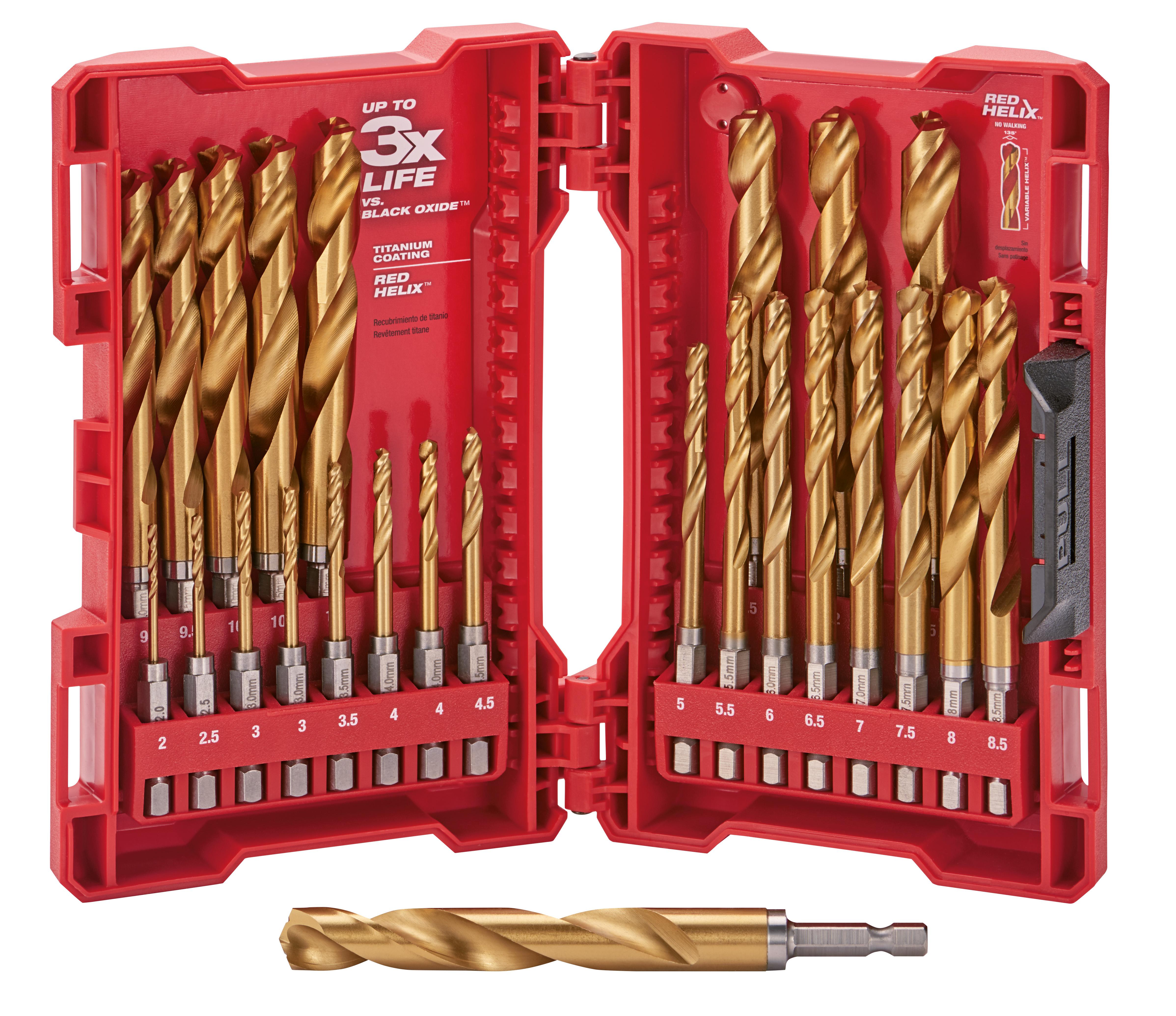 Metric Titanium SHOCKWAVE Red Helix Drill Bit Kit - 25 Piece