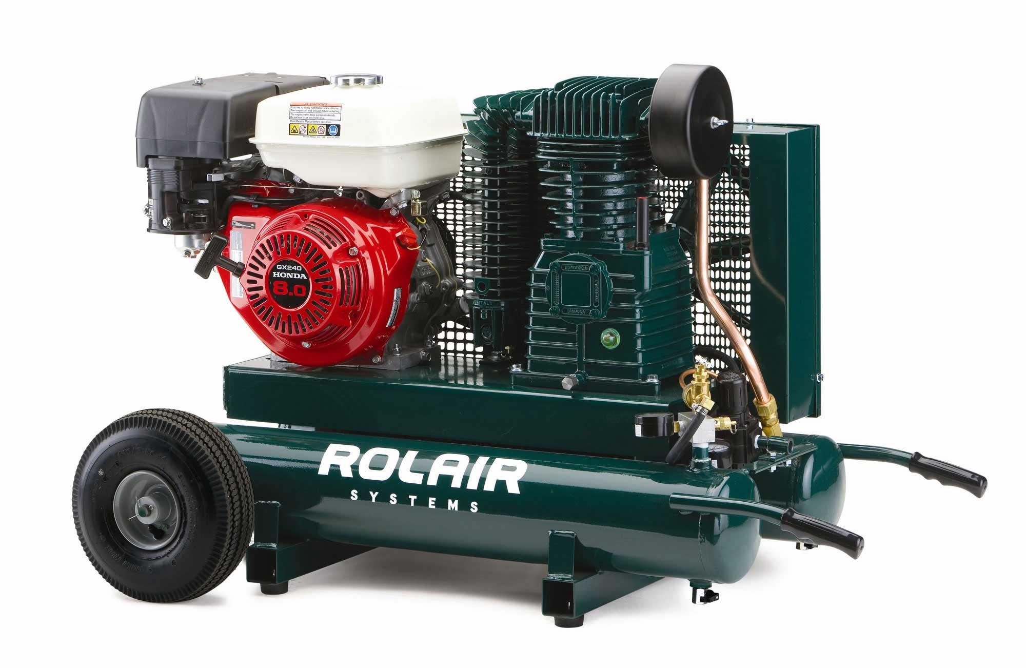 Rolair 8-HP 9-Gallon Gas Two-Stage Wheelbarrow Air Compressor w/ Honda Engine
