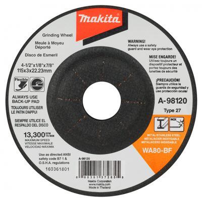 "4-1/2"" x 5/64"" x 7/8"" T27 WA80-BF Grinding Wheel (20Pk)"