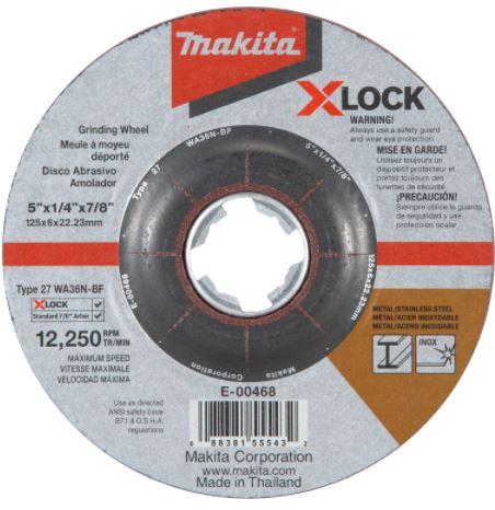 "X‑LOCK 5"" x 1/4"" x 7/8"" Type 27 General Purpose 36 Grit Abrasive Grinding Wheel for Metal & Stainless Steel Grinding"